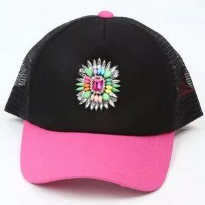 BETSEY JOHNSON BASEBALL HAT CAP BEJEWELED PINK. LN